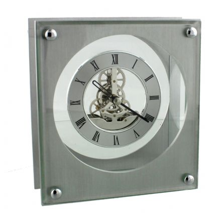 Aluminium Square Mantel Clock with Quartz Skeleton Dial